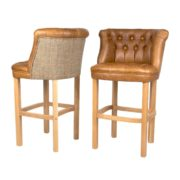 Bentley Barstool - Cerato Brown Leather & Gamekeeper Thorn
