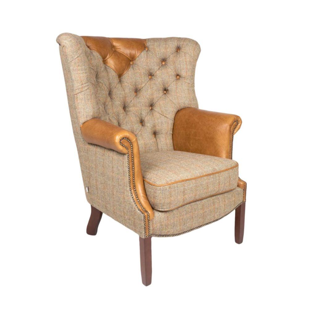 Hamlet Occasional Chair - Harris Tweed Gamekeeper Thorn & Cerato Brown side